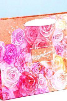 """Пакет горизонтальный крафтовый """"Поздравляю!"""" (розы)"""