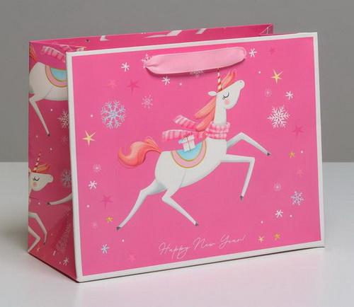 """Пакет ламинированный новогодний """"Розовый единорожек"""""""