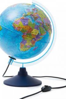 Глобус Земли политический рельефный с подсветкой. Диаметр 250 мм